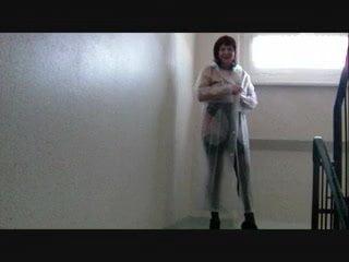 Raincot and latex plastic sexy pornó girl