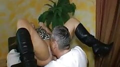 Chubby german MILF squirts while fisted