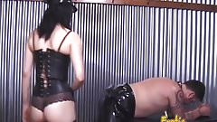 Two ravishing babes enjoy spanking a latex-clad horny stud h