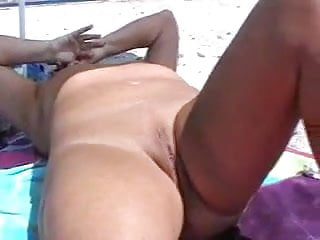 Mature Masturbating Naked On The Beach